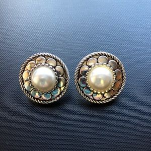 NWOT Pierced Earrings Pearl and Silver-tone